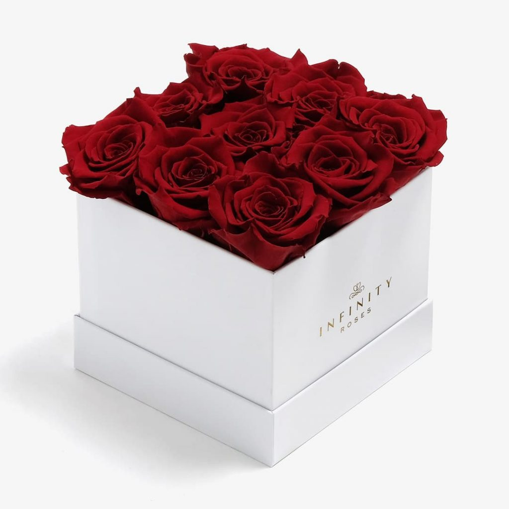 9 red roses in a white square box swag ideas