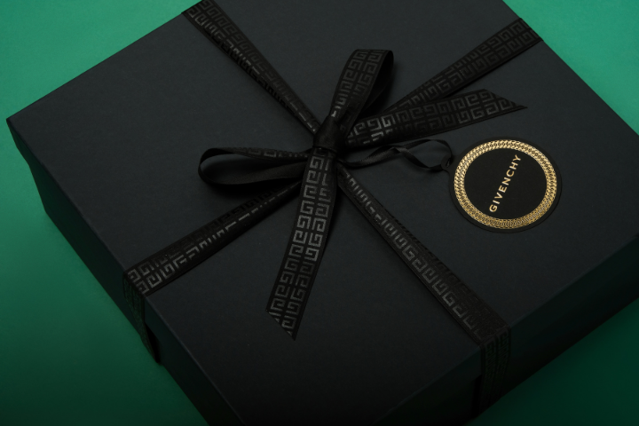 black gift box with branded givenchy logo by fountain gifts