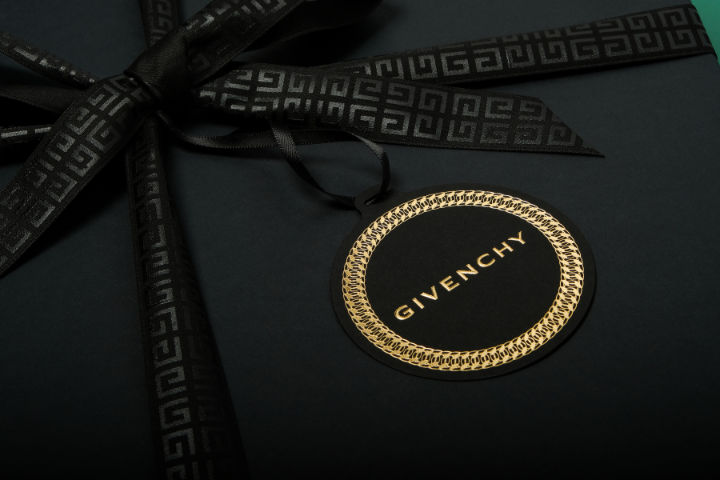 black gift box with branded Givenchy hangtag